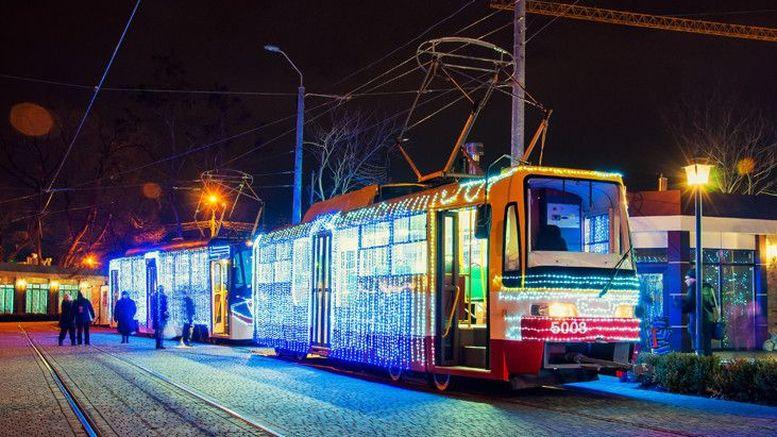 трамваї - гірлянди - Одеса